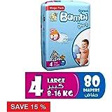 Sanita Bambi Size 4, Large, 8-16 kg, Mega Pack - 80 Count