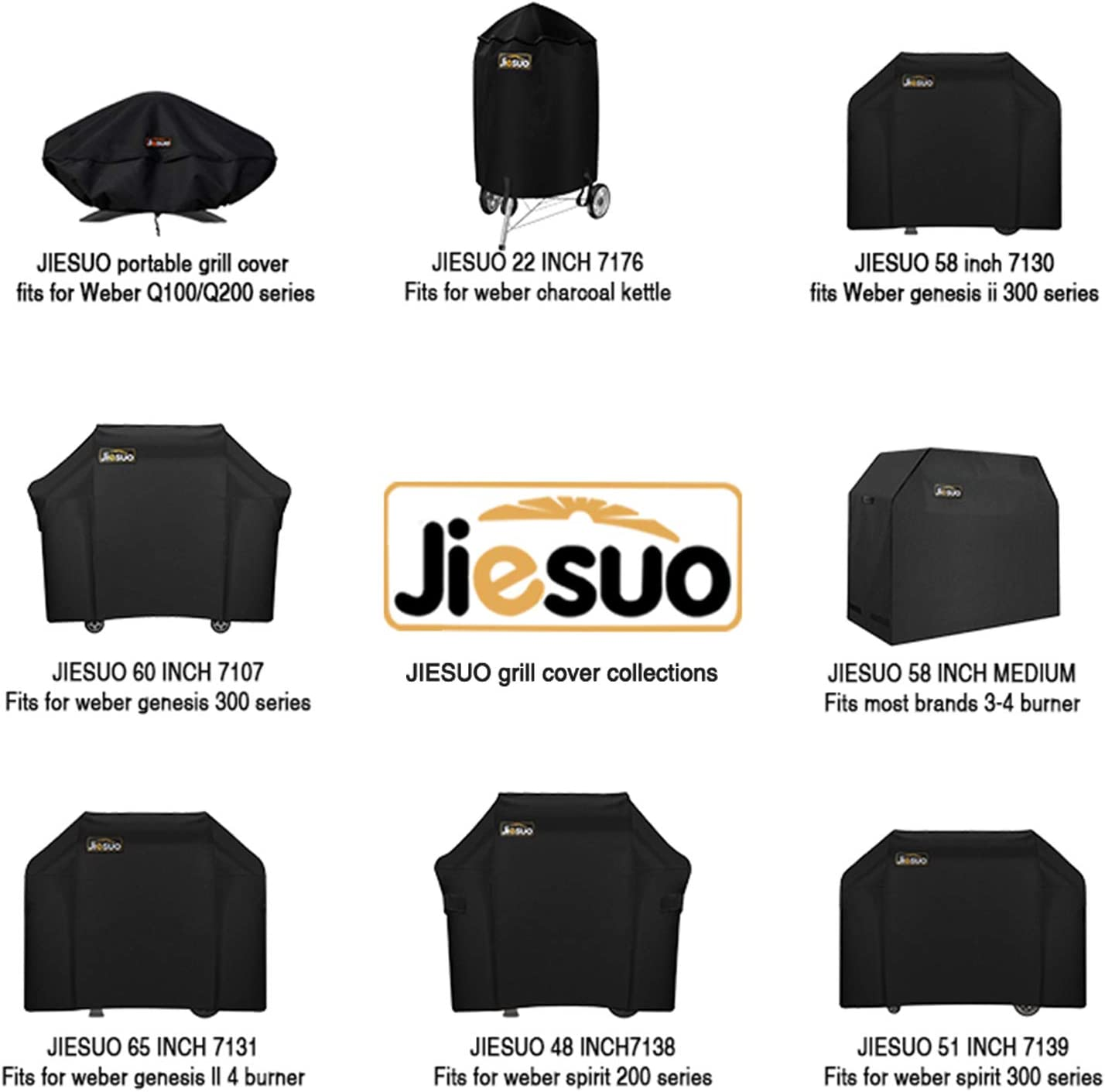 Amazon Com Jiesuo Bbq Gas Grill Cover For Weber Spirit And Spirit Ii 310 Heavy Duty Waterproof 51 Inch 3 Burner Weather Resistant Ripstop Outdoor Barbeque Grill Covers Garden Outdoor