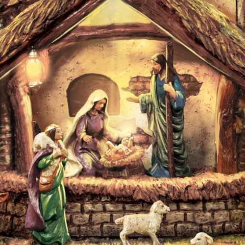 Thomas Kinkade Following the Star Nativity Sculpture Lights As Figures Move and the Musical Nativity Plays 4 Beloved Carols! - By Hawthorne Village by Bradford Exchange (Image #3)