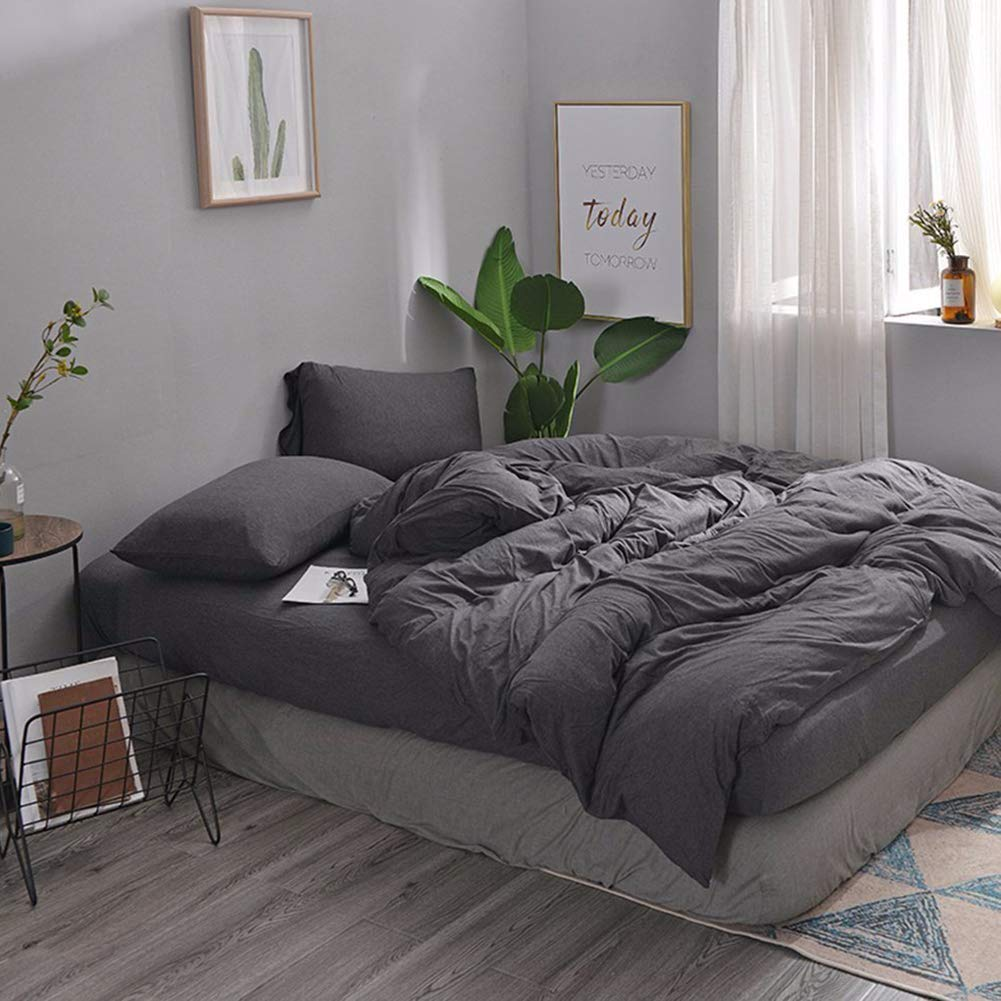 MisDress Ultra Soft Jersey Knit Cotton 3 Pieces Duvet Cover Set Soft and Durable Full Comforter Cover and Pillowcases Dark Gray Queen Size Solid Pattern Bedding Set