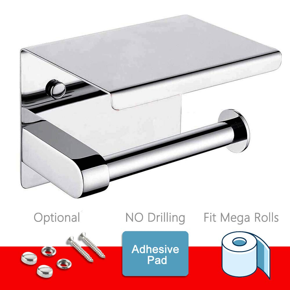 Toilet Paper Holder - Toilet Paper Roll Holder with Shelf, Adhesive No Drilling or Wall Mounted with Screws for Bathroom, It Holds Mega Roll- Stainless Steel Polished Chrome by Sfemn