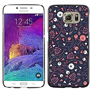 iKiki Tech / Estuche rígido - Wallpaper Dark Blue Pink Flowers - Samsung Galaxy S6 SM-G920