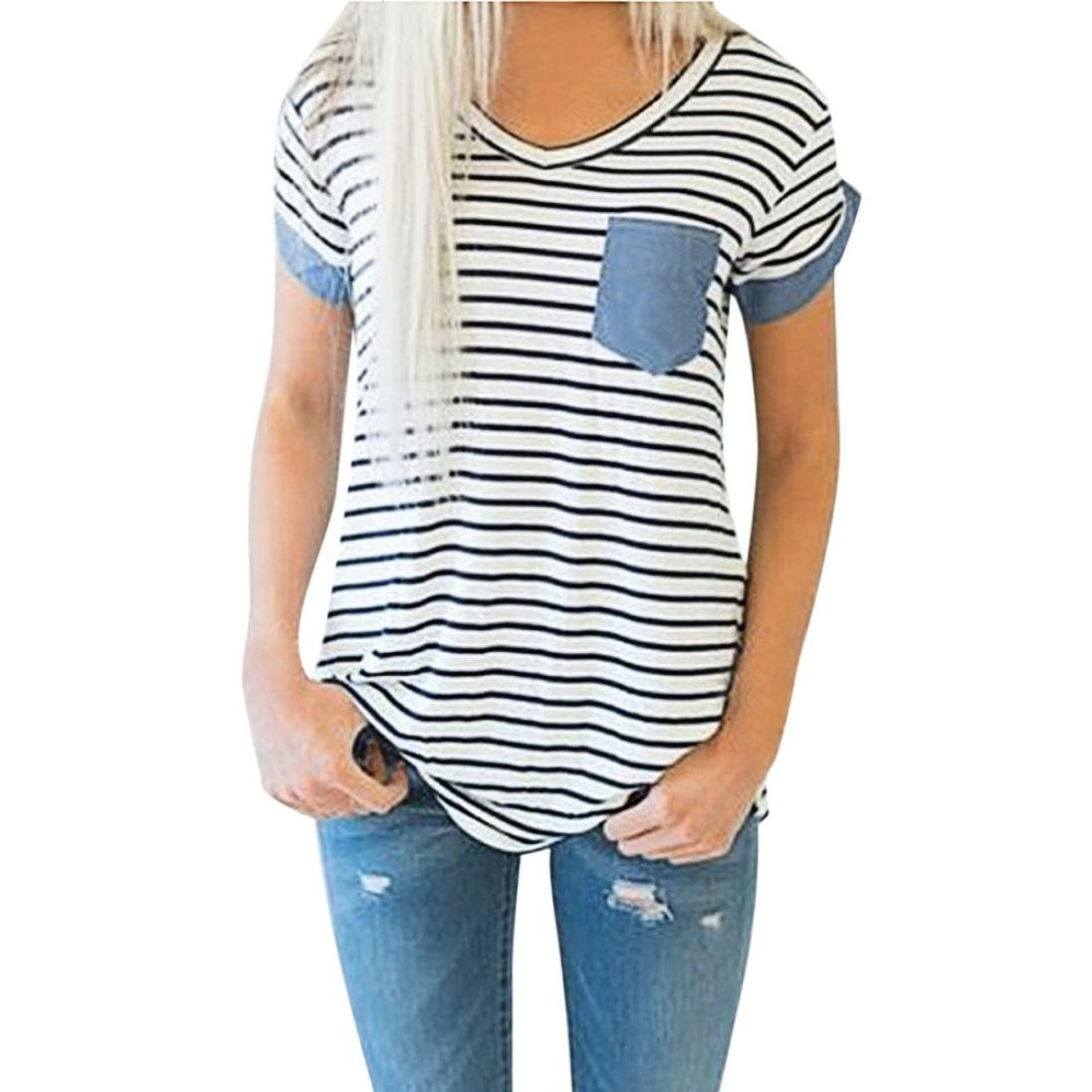 YANG-YI Clearance, Hot Fashion Women Short Sleeve Striped Patchwork Blouse Tops Ladies V Neck T-Shirt