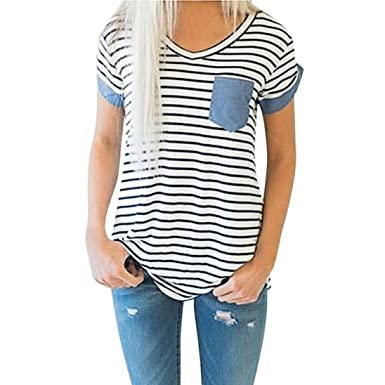 Challyhope Womens Casual Striped Patchwork With Pocket Short Sleeve T Shirt  Blouse (S 5a78e8f3dac4