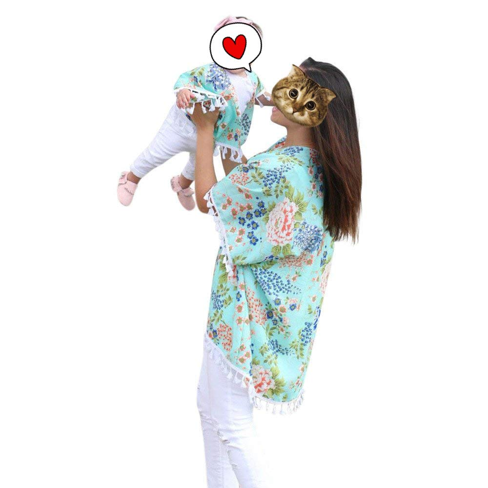 Acircle Mommy and Me Outfits Floral Kimono Shawl Tassel Beachwear Bikini Swimsuit Cover Up Cardigan for Mother and Daughter