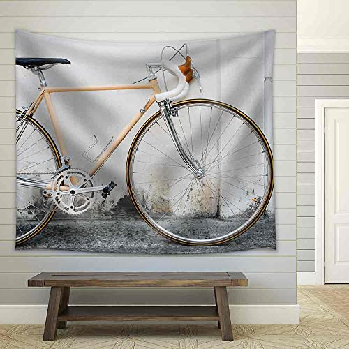 wall26 – Vintage Road Bicycle Leaning on White Wall – Fabric Wall Tapestry Home Decor – 68×80 inches