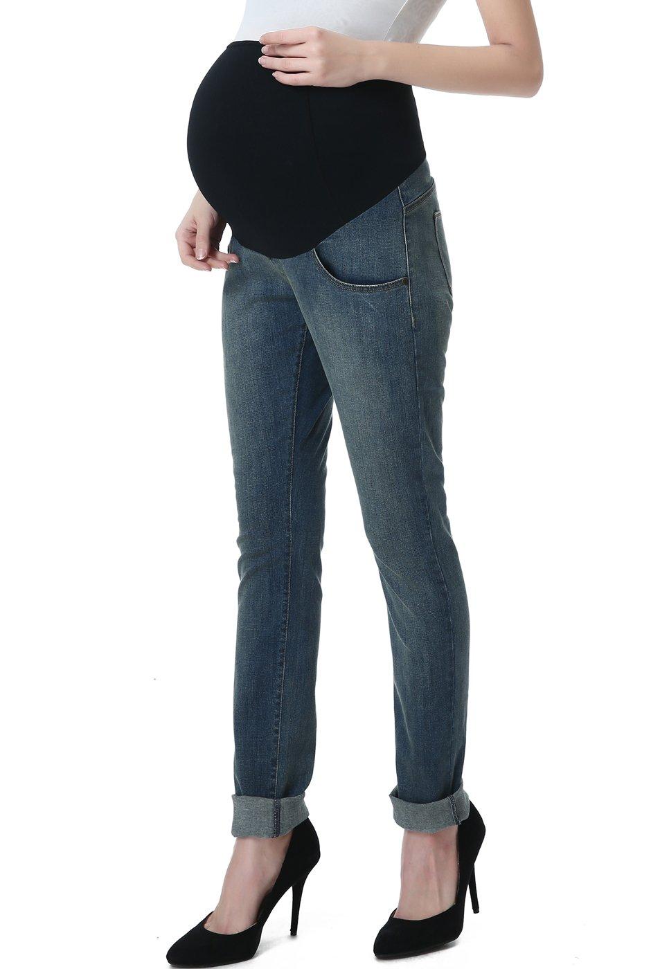 Momo Maternity Women's Straight Leg Denim Jeans - Medium Indigo 32