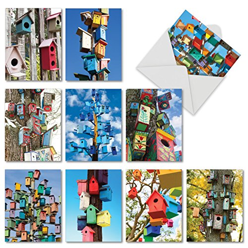 Impact Roost - AM6114OCB-B1x10 Birdhouse Beautiful: 10 Assorted Blank All Occasions Cards Featuring Images of Colorful Birdhouses to Roost Happily, with Envelopes.