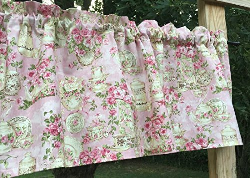 Floral Tea Cups Plate Hostess Server Green & Pink Handcrafted Curtain Valance Review