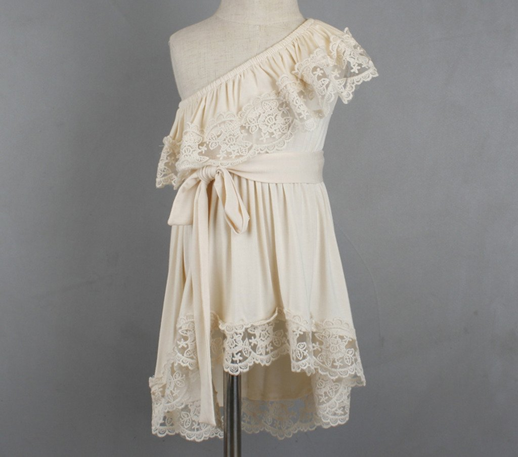Bow Dream Flower Girl's Dress Vintage Lace One Shoulder Cream Ivory 8 by Bow Dream (Image #2)