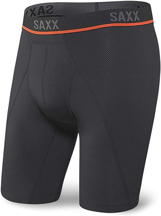 Saxx Underwear Long Leg Boxer Briefs – Kinetic HD Semi-Compression Boxer Briefs with Built-in Ballpark Pouch Support