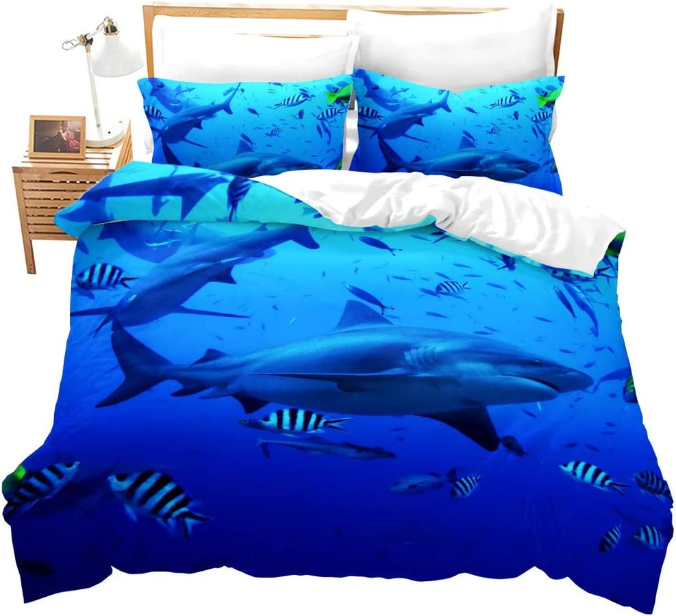 Erosebridal Shark Bedding Duvet Cover Ocean Comforter Cover Watercolor Fish Quilt Cover Sea Animal Bedspread,Decoration Bedding Sets 3 Pcs with 2 Pillowcases (Blue,Queen)