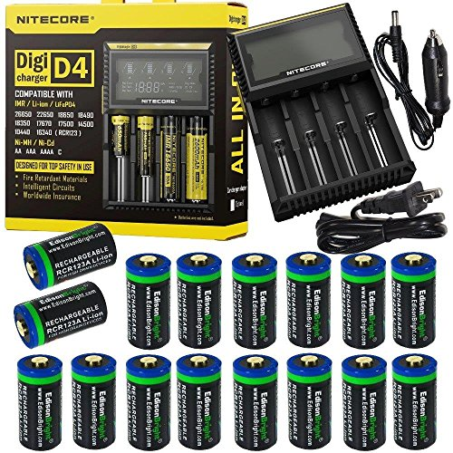 16 Pack EdisonBright EBR65 type 16340 rechargeable CR123A RCR123A 3.7v protected li-ion batteries with Nitecore D4 smart digital battery charger digicharger for home & car bundle (Protected Rcr123 compare prices)