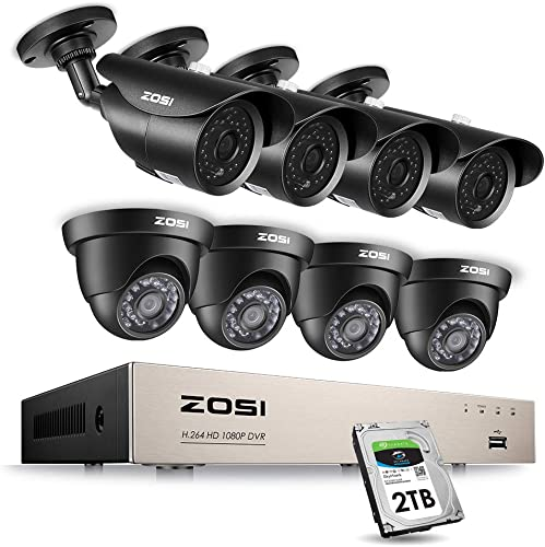 ZOSI 8CH 1080P Security Camera System Outdoor with 2TB Hard Drive,8Channel 1080P HD Video DVR Recorder and 8pcs 1920TVL 1080P Weatherproof Surveillance Cameras with 120ft Night Vision,Remote Access