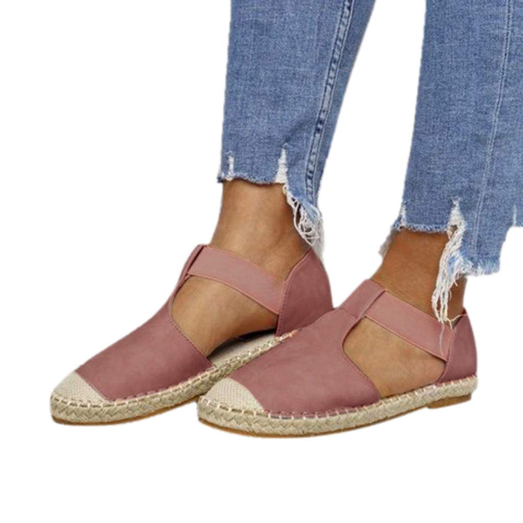 Sandals for Women THENLIAN Retro Elastic Band Flat Low Flat Sandals Round Toe Casual Shoes (43, Pink)