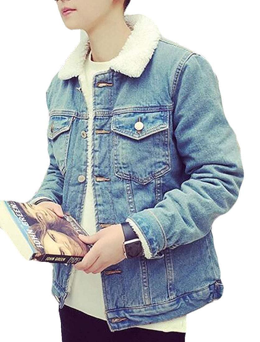 UUYUK Men Winter Fleece Plus Velvet Fur Collar Thicken Denim Jacket Coats