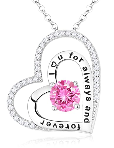 Necklace Jewelry Gifts Pink Tourmaline Double Hearts I Love You to the Moon and Back Sterling Silver Jewerly for Mom Wife Womens Girls Birthday Anniversary Gifts
