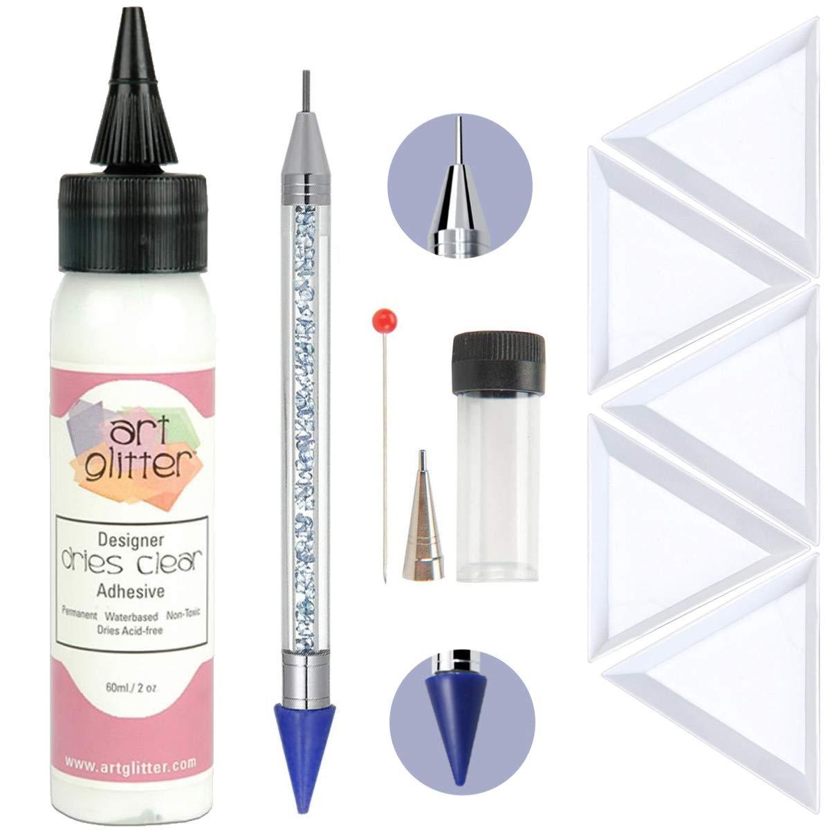 Art Glitter Glue Designer Dries Clear Adhesive 2-ounce with Ultra Fine Metal Tip, Pixiss 6-inch Jewel Picker Setter Pickup Tool, 5x Triangle Bead Trays Wax Pencil Rhinestone Applicator Application Kit