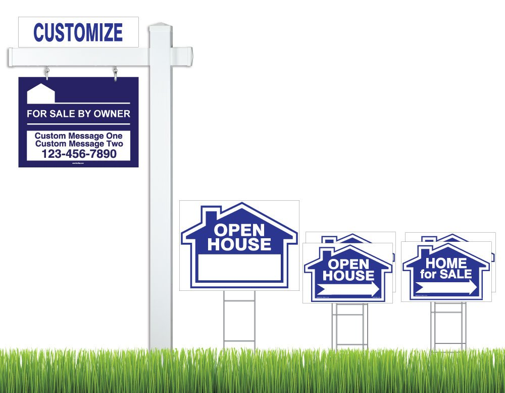 Deluxe Real Estate For Sale By Owner (FSBO) Sign Kit (Blue), (1) Real Estate Post with Sign, (1) FSBO Hanging Sign (1) Open House Sign (4) Directional Signs, (1) Rider (Deluxe Kit - Blue)