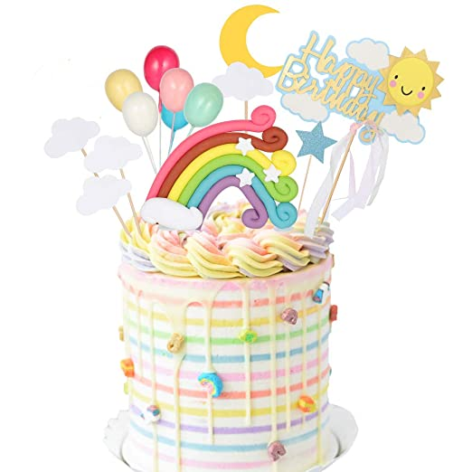 Yorgewd 16 piezas arcoíris decoración para tarta de ...