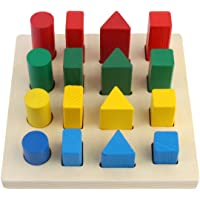 CraftDev Geometry Shape Sorter Blocks Wooden Toys for Kids Ages 3+ Years