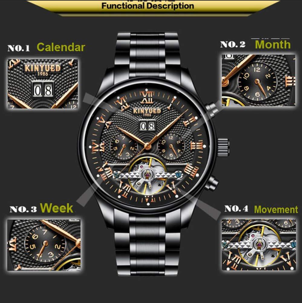 Gskj herrklocka mekaniska klockor mode metall vattentät helautomatisk ihålig klocka liten urtavla kalender lyx män affärsklocka b