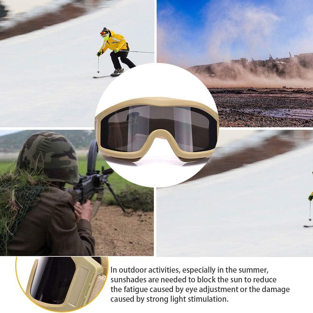 Schie/ßbrille Pc Anti-Fog Sport Goggle Windundurchl/ässiges Racing Sonnenbrillen Outdoor Schutzbrille Beige 1set