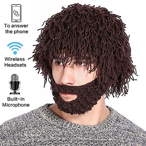 F&U Men's wireless Bluetooth Beanie Hat Knit Cap Wool as Wig Beard Built-in Mic Sport Speaker ()