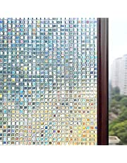 """UooMay Window Film Decorative No Glue - Reflective Window Decor Glass Door Film Privacy Protection Heat Control Anti UV,Stained Glass Static for Living Room,Home,Bathroom,Office (17.7""""x78.7"""")"""