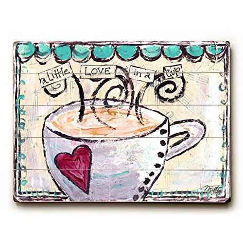 """A Little Love In A Cup by Artist Misty Diller 9""""x12"""" Solid Wood Sign Wall Decor Art"""