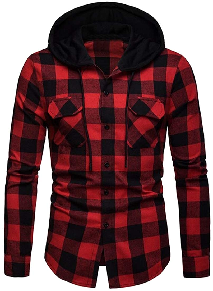YYear Mens Casual Long Sleeve Hoodie Vogue Plaid Button Down Dress Shirts