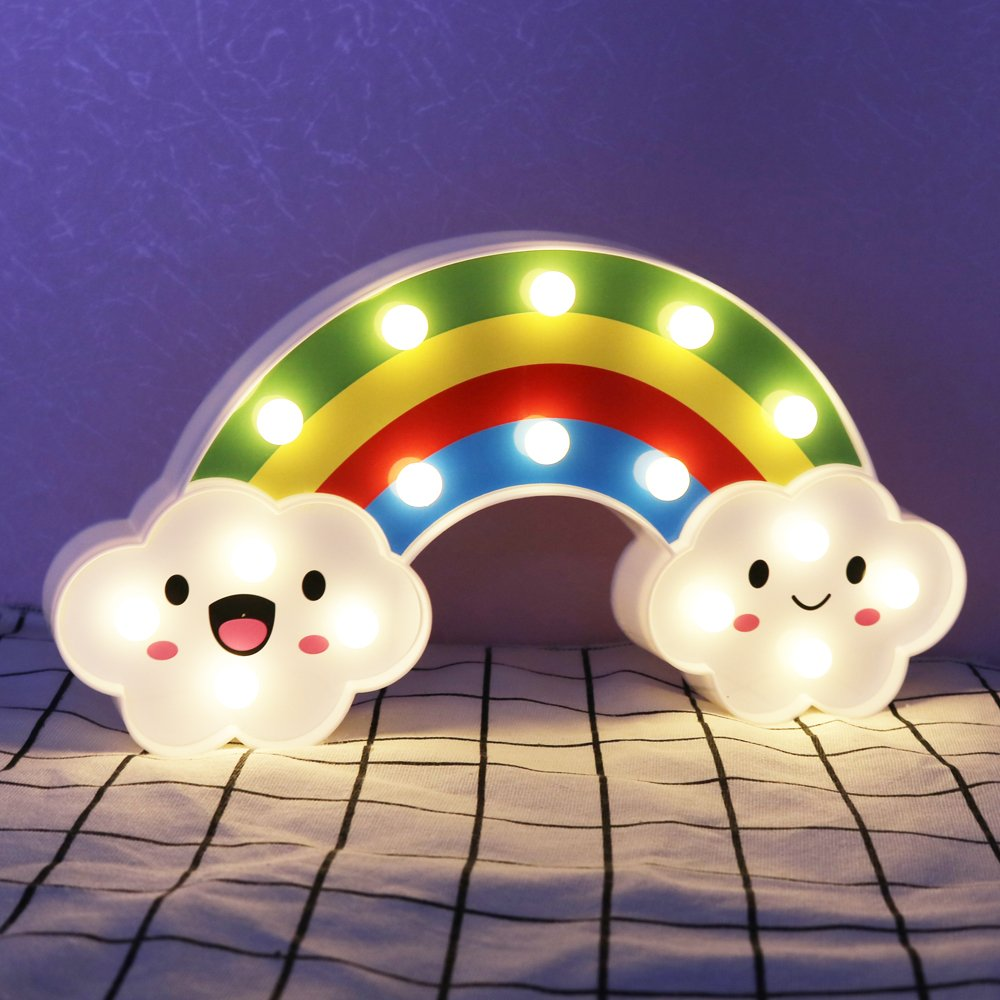 DELICORE Lighted Cute Rainbow Sign - Marquee Rainbow Night Lights - Home Decor Accents for Kids Baby Adults Bedroom ,Living Room Decor