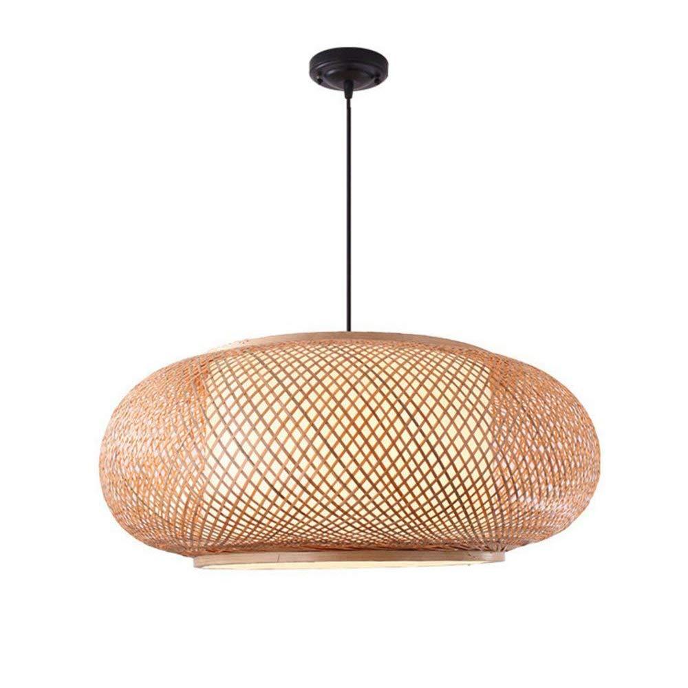 Hängelampe Pendelleuchte E27 Lampenschirme Hängeleuchte Leuchtmittel Rund aus Bambus, 40x20cm für Esstisch Kinderzimmer Wohnzimmer Küche Esszimmerlampe