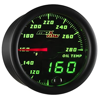 "MaxTow Double Vision 280 F Oil Temperature Gauge Kit - Includes Electronic Sensor - Black Gauge Face - Green LED Illuminated Dial - Analog & Digital Readouts - For Trucks - 2-1/16"" 52mm: Automotive"