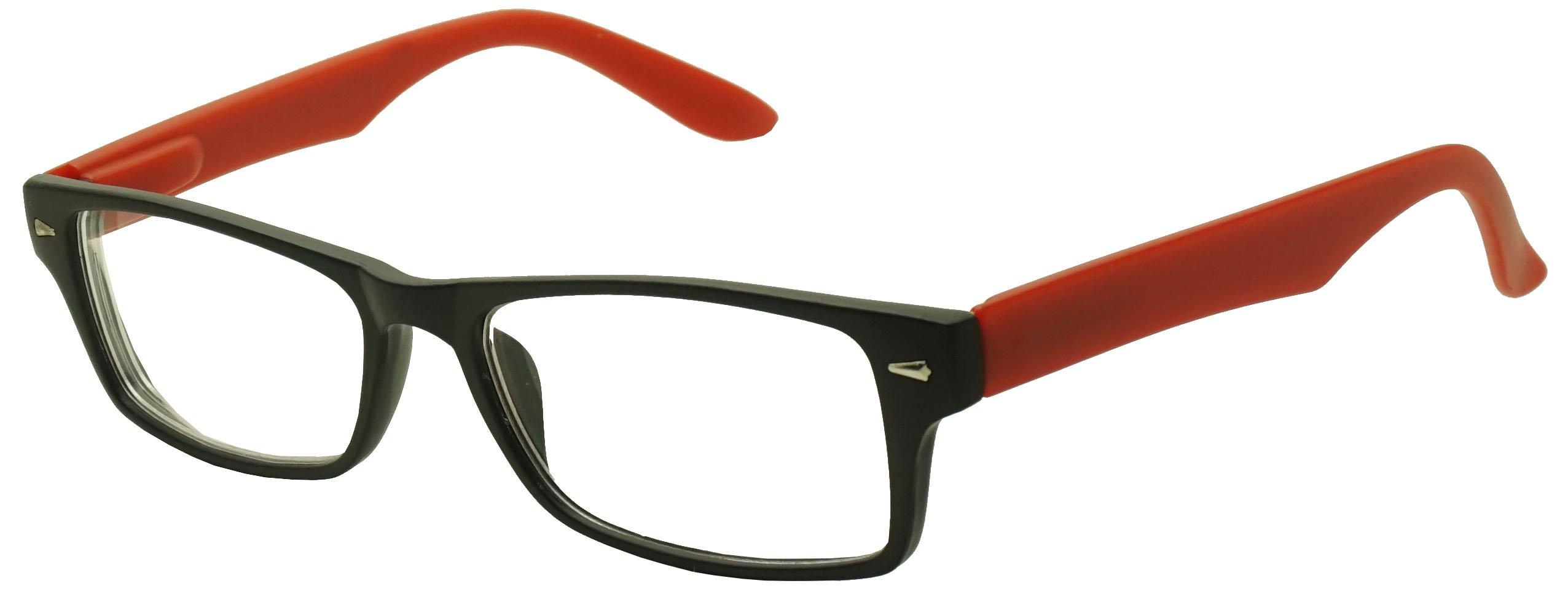 Classic Rectangular Negative Strength Prescription Eyewear Glasses Power -1.00 thru -2.25 (Black   Red, -2.25)