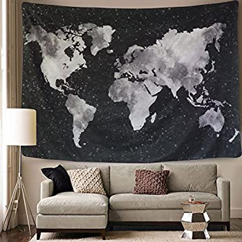 Amazon bleum cade starry world map tapestry black white bleum cade starry world map tapestry black white abstract painting wall hanging home decor for gumiabroncs Gallery