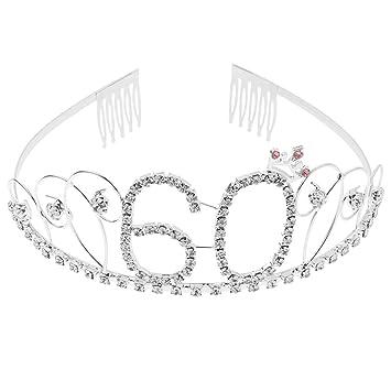 B Blesiya Tiara de Cumpleaños Aleación de Metal y Pedrería Cumpleaños Corona Princesa para Mayoría de Mujeres - 60