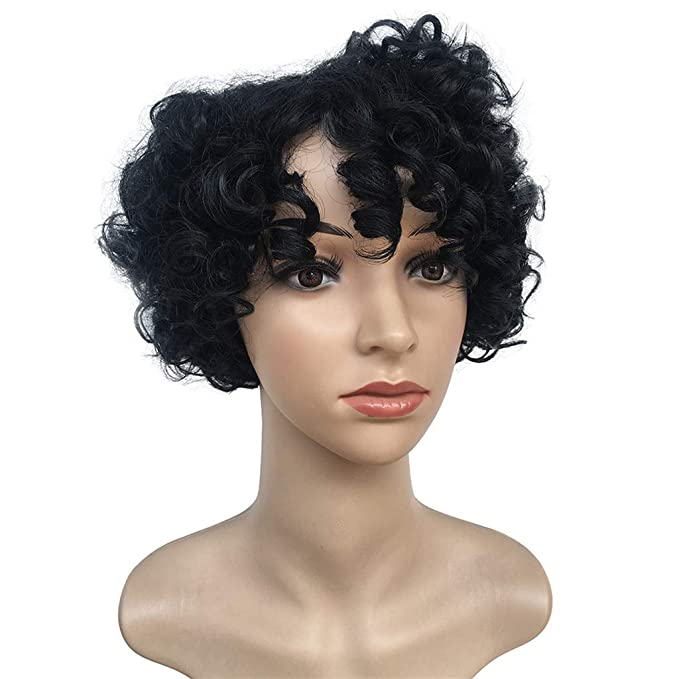 Yivise - Peluca de pelo corto, pelo rizado y fibra sintética ...