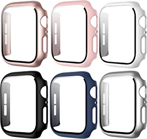 [6 Pack] Case Compatible with Apple Watch Series 3/2/1 38mm, BHARVEST Case with Tempered Glass Screen Protector Overall Bubble-Free Hard PC Cover for Apple Watch Accessories