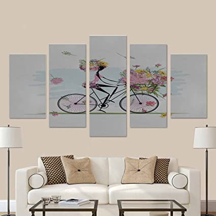 Amazon.com: InterestPrint Girl with Floral Bouquet in Basket Cycling ...