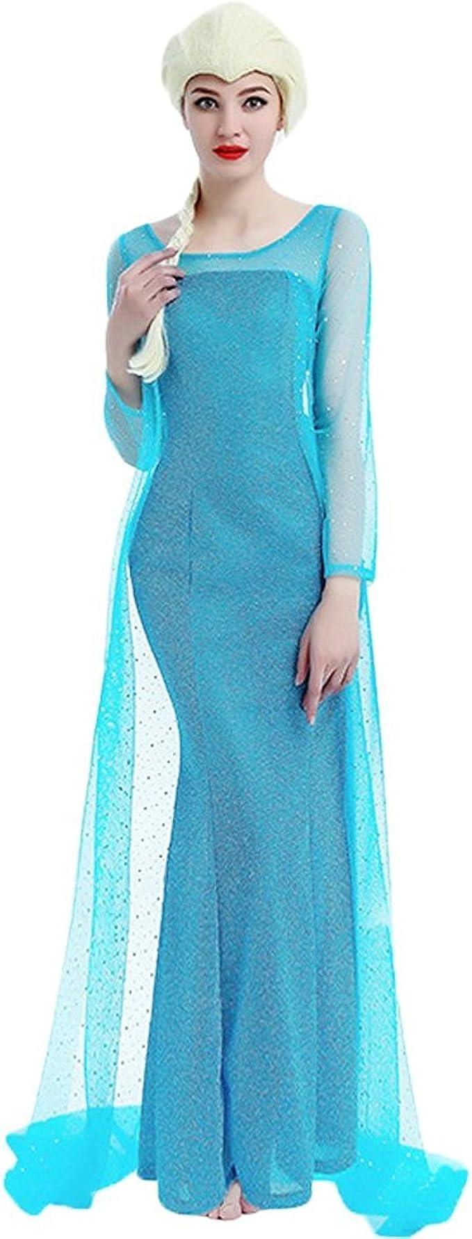NNDOLL Disfraz DE Mujer Carnaval Princesa Vestido Elsa Vestida ...