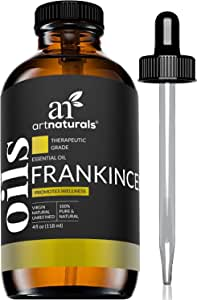 ArtNaturals Frankincense Essential Oil 4oz - 100% Pure Oils Natural Undiluted Therapeutic Grade – Premium Aromatherapy Quality Oil, Aromatherapy & Diffuser - 120ml Large Glass Bottle w/Dropper