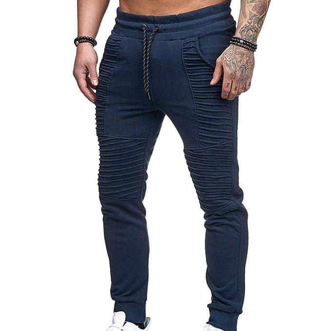 111b270f Saoye Fashion Pantalones De Carga para Hombre Arrugado Ocio Regular ...