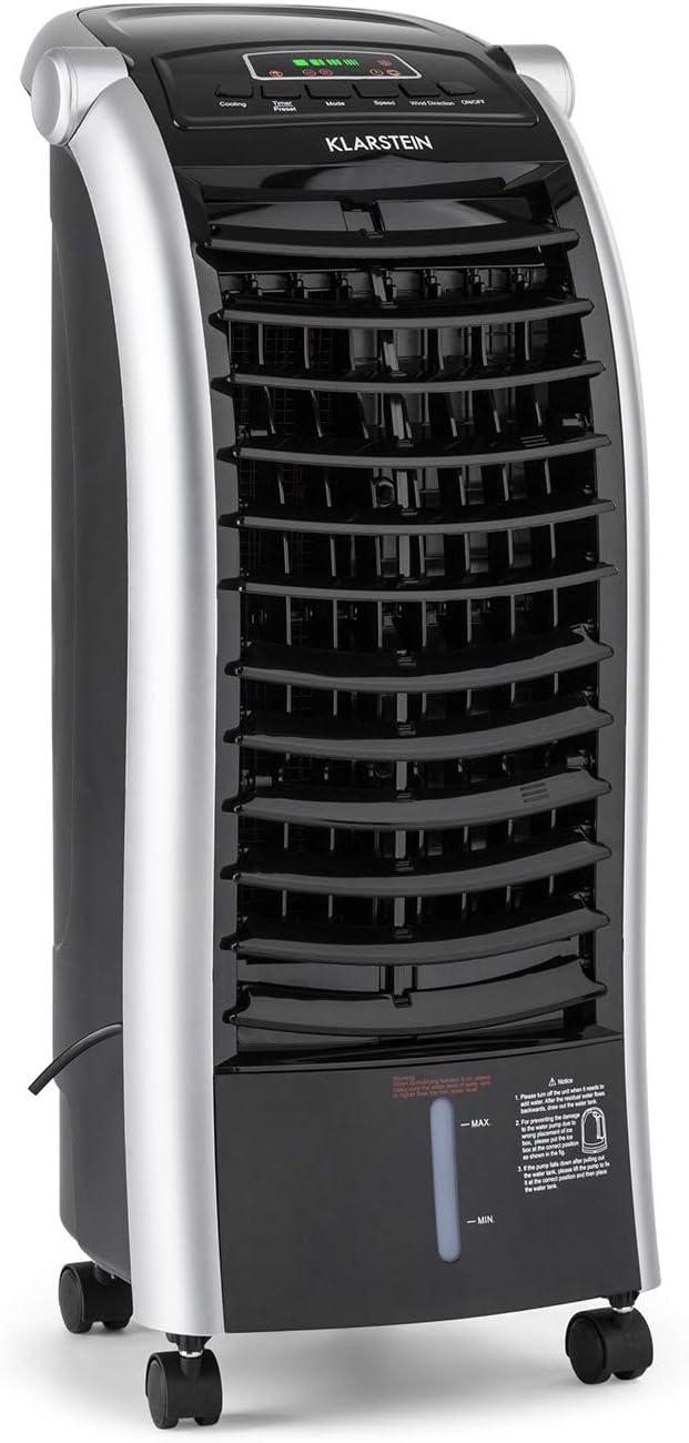 KLARSTEIN Maxfresh Ice Black 3 en 1 - Enfriador de Aire, Ventilador y Humidificador, 3 Funciones, Portátil Panel de Control LED, 56 W, Tanque de 6 litros, Bolsa de Hielo, Control Remoto, Negro