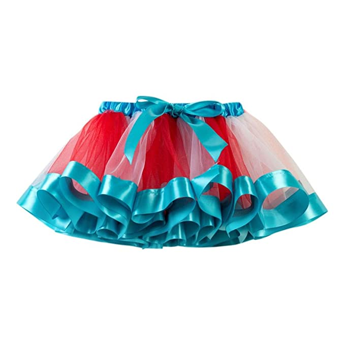 QinMM Falda de Baile Tutu Tulle Para Niñas Bebé, Falda de Princesa Rainbow (Azul