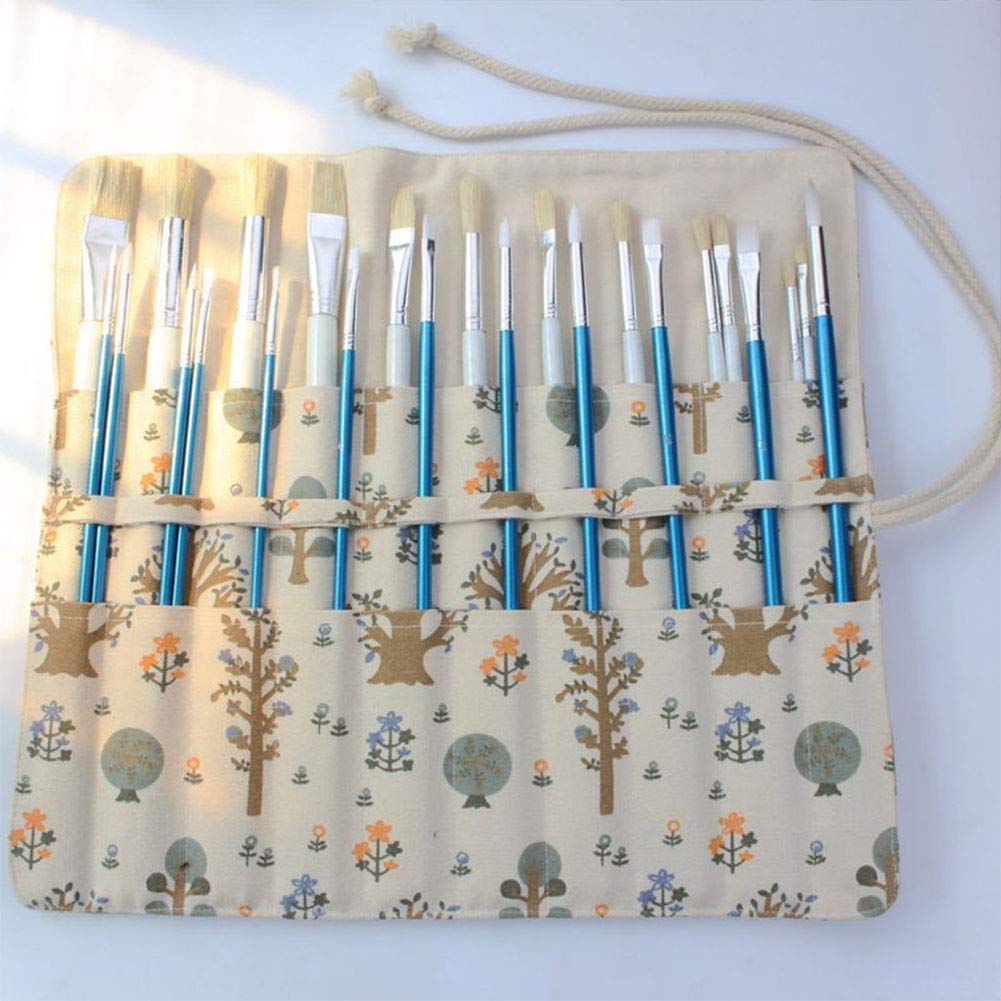 Astuccio arrotolabile in tela per pennelli da artista A pittura a olio in stile classico per pittura ad acquerello penne e pennelli