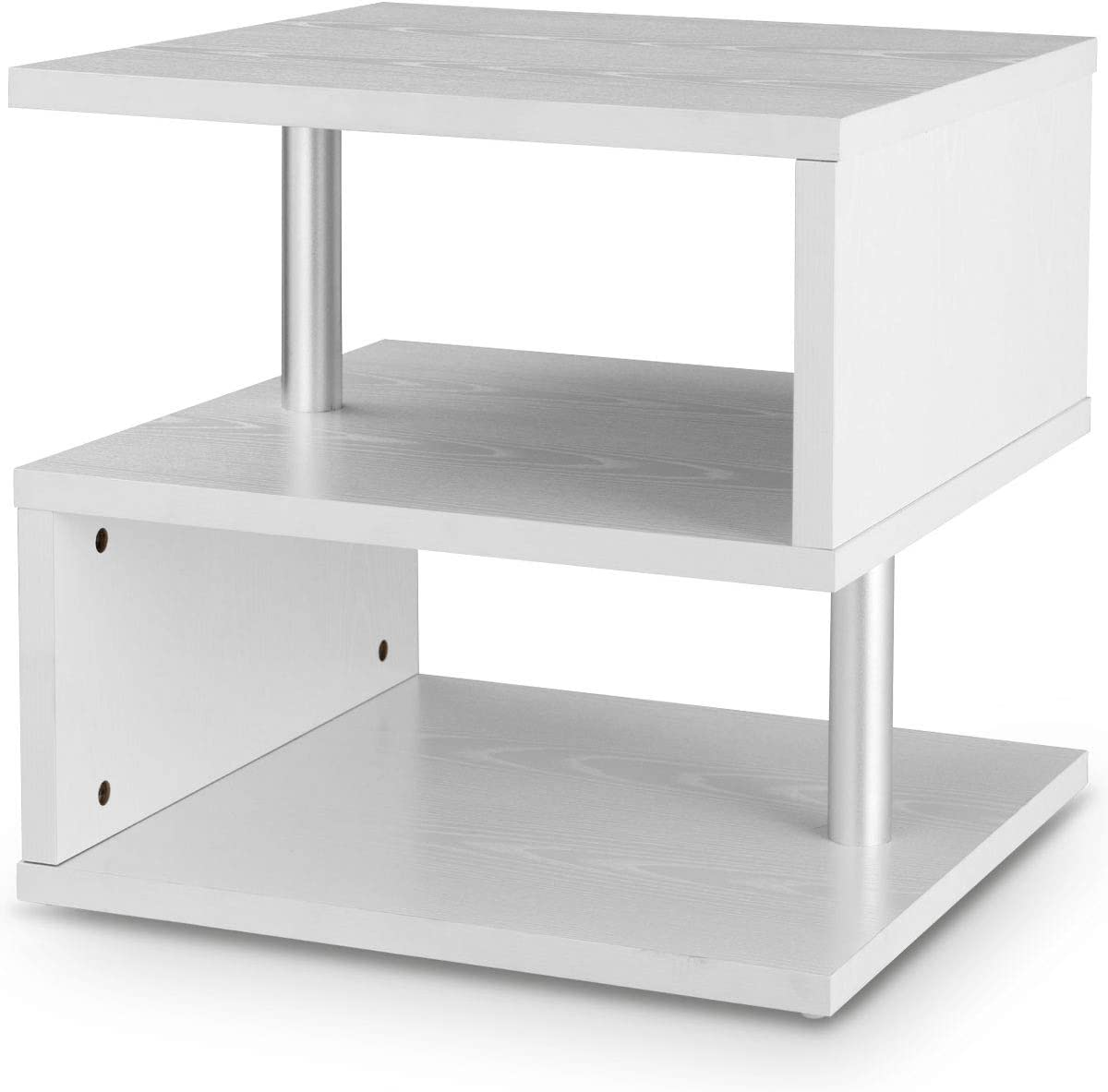 COSTWAY Wooden S Shape Coffee Table 2 Tier Storage Shelves Organizer Sofa Couch Cube End Desk Bedroom Living Room Display Shelf Office Study Bookcase White