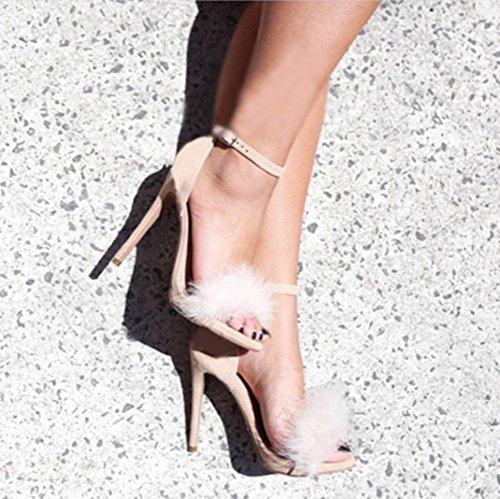 Image of MMJULY Women's Open Toe Ankle Strap Fluffy Feather Stiletto High Heel Dress Sandal