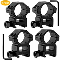GoldCam 1'' Scope Rings, 2Pcs High Profile + 2Pcs Medium Profile 1 Inch Scope Mount Rings for Picatinny/Weaver Rail - Pack of 4