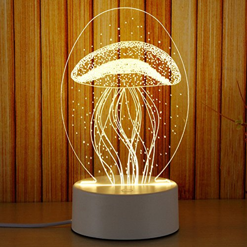 3D Night Light HongyuAmy Touch Control 7 Colors LED Table Lamp USB Battery Operated Desk Lighting Home Decor Love Birthday Kids Toy Christmas Gift (Jellyfish) (Selling Home Top Decor)